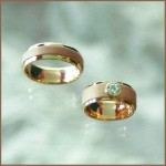 Brushed Rose Gold & Yellow Gold Wedding Set