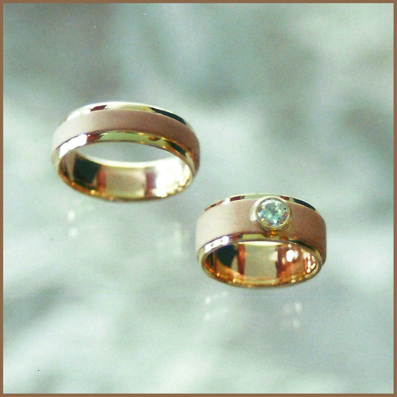 Brushed rose & yellow gold wedding set