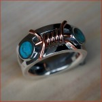 Turquoise SS copper Barbed Wire Style Ring 052