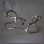 Free-Form Silver Bracelet and Yogo Sapphire